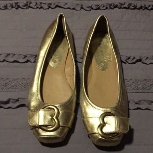 Golden color dress flat shoes